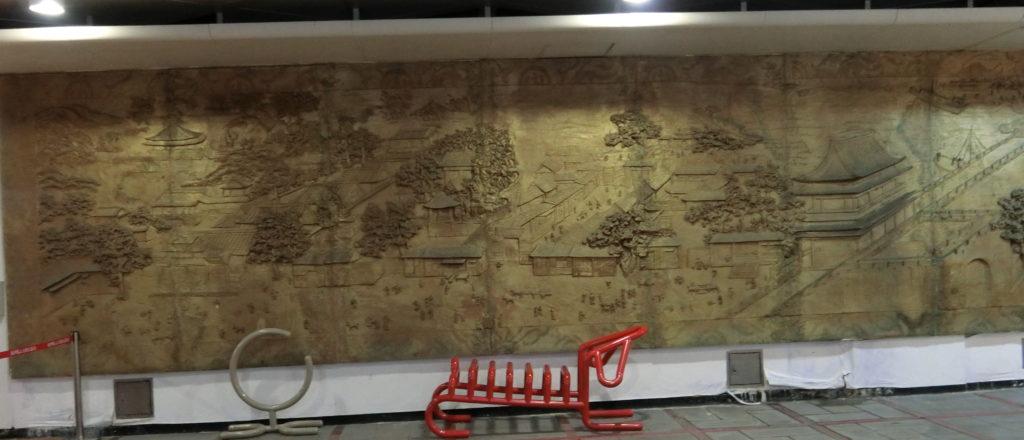 龍山寺地下街の木彫りの絵