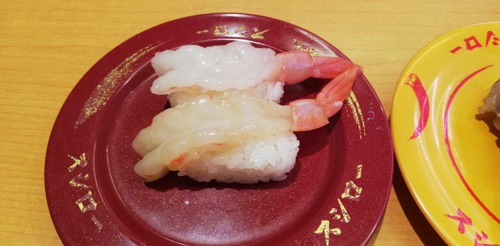 スシローの天然生えびの食べ比べ(生・漬け)