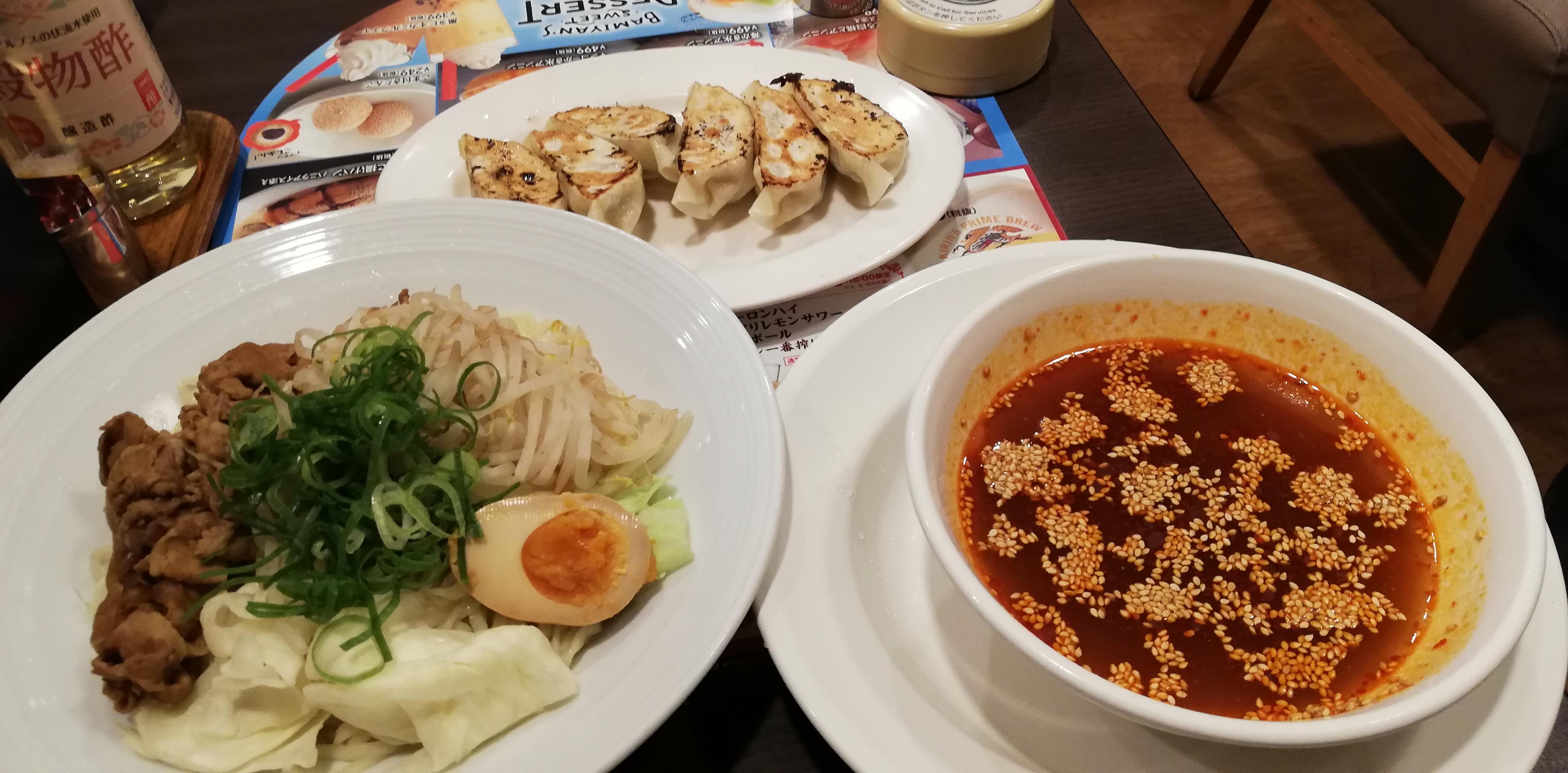 広島流 肉盛り辛つけ麺と本格焼餃子のセット