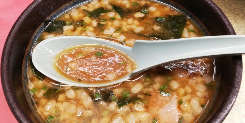 山岡家、海老薫る濃厚あさりつけ麺のスープ